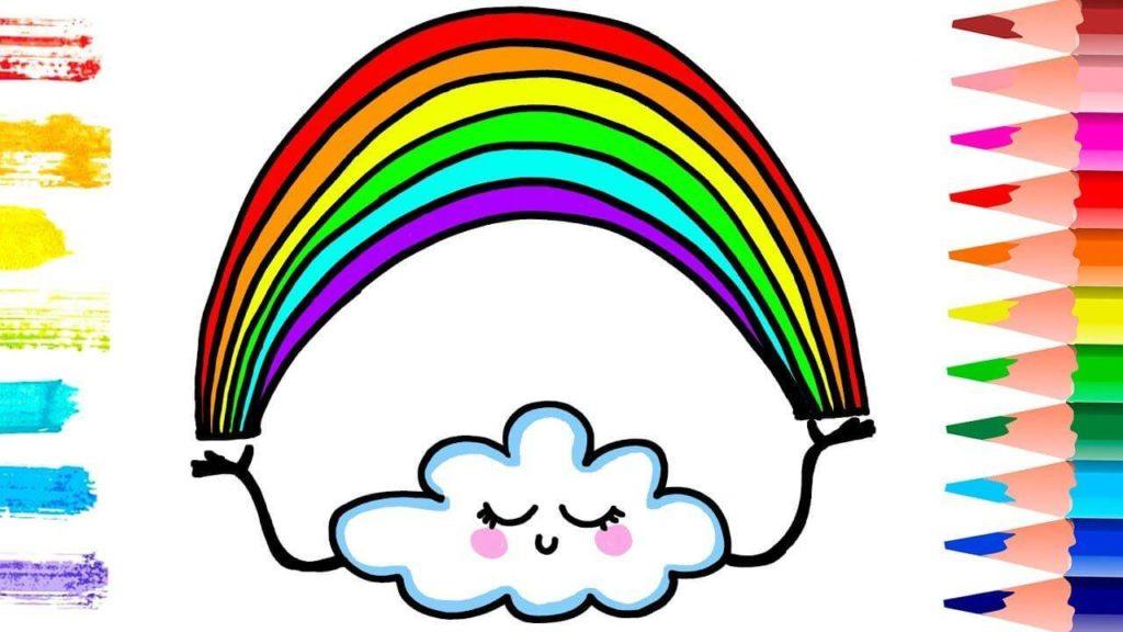 рисунки радуги для срисовки тучка