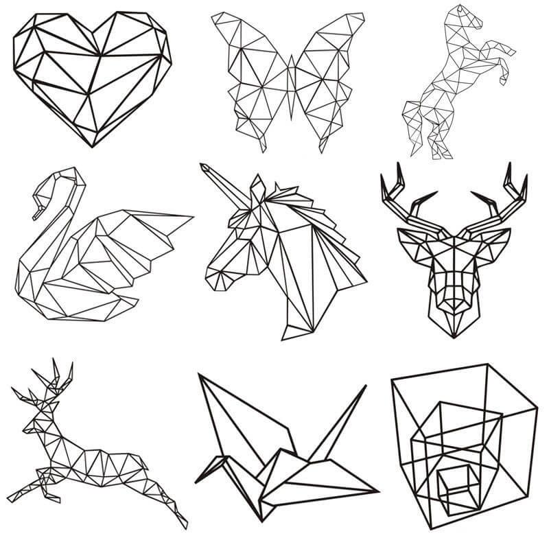 геометрические картинки для срисовки животные