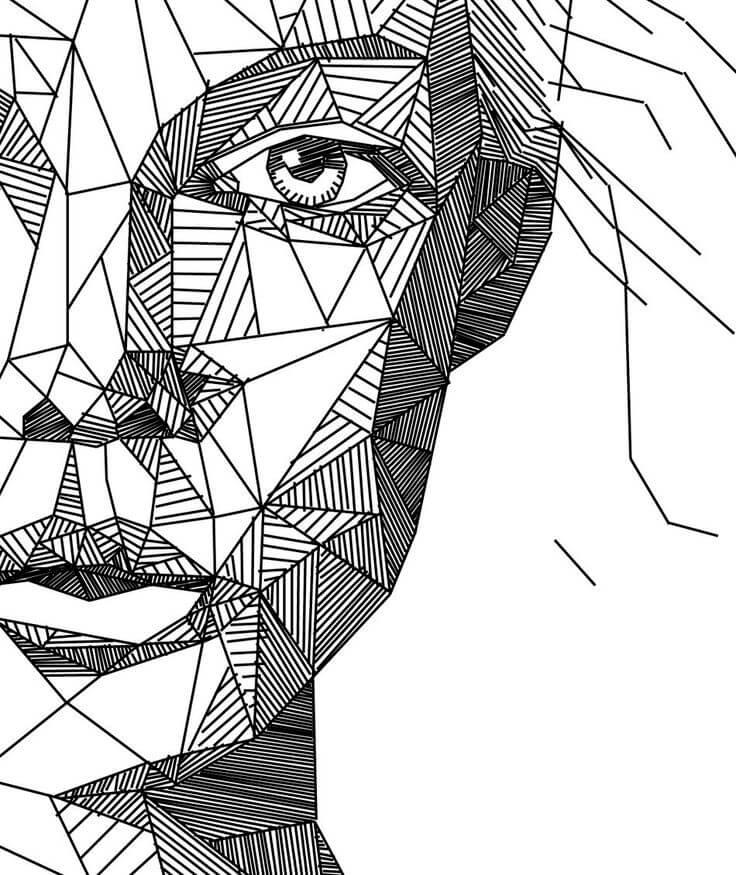геометрические картинки для срисовки девушка
