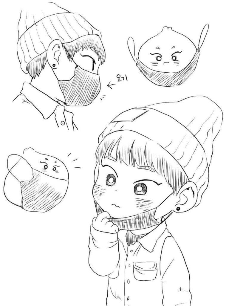 корейские картинки для срисовки простые