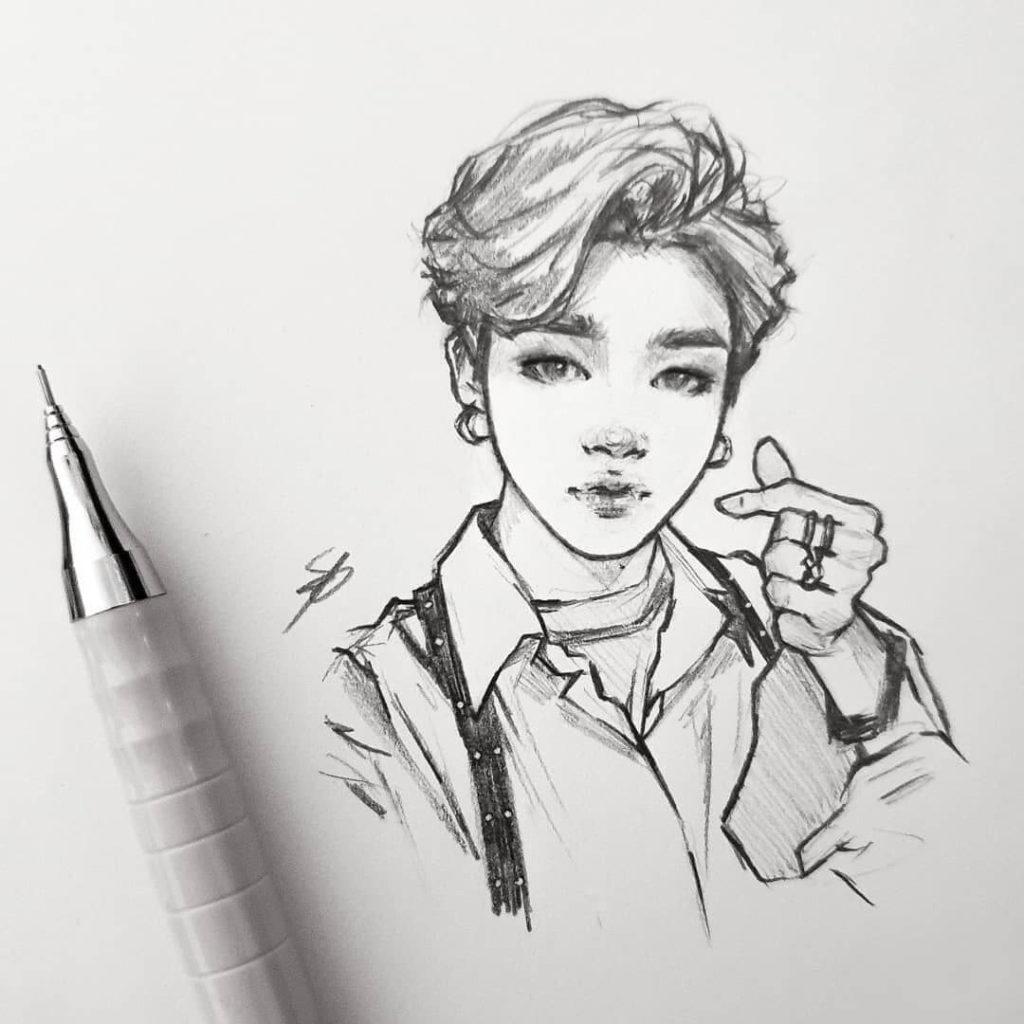 корейские картинки для срисовки парней
