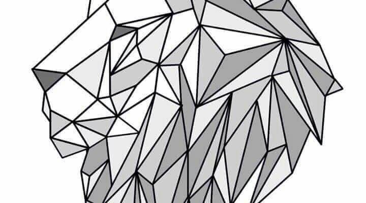 геометрические картинки для срисовки лев