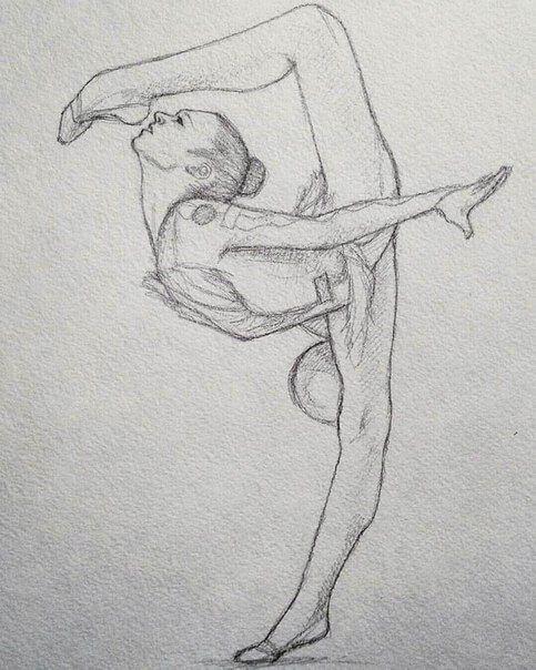гимнастки для срисовки карандашом