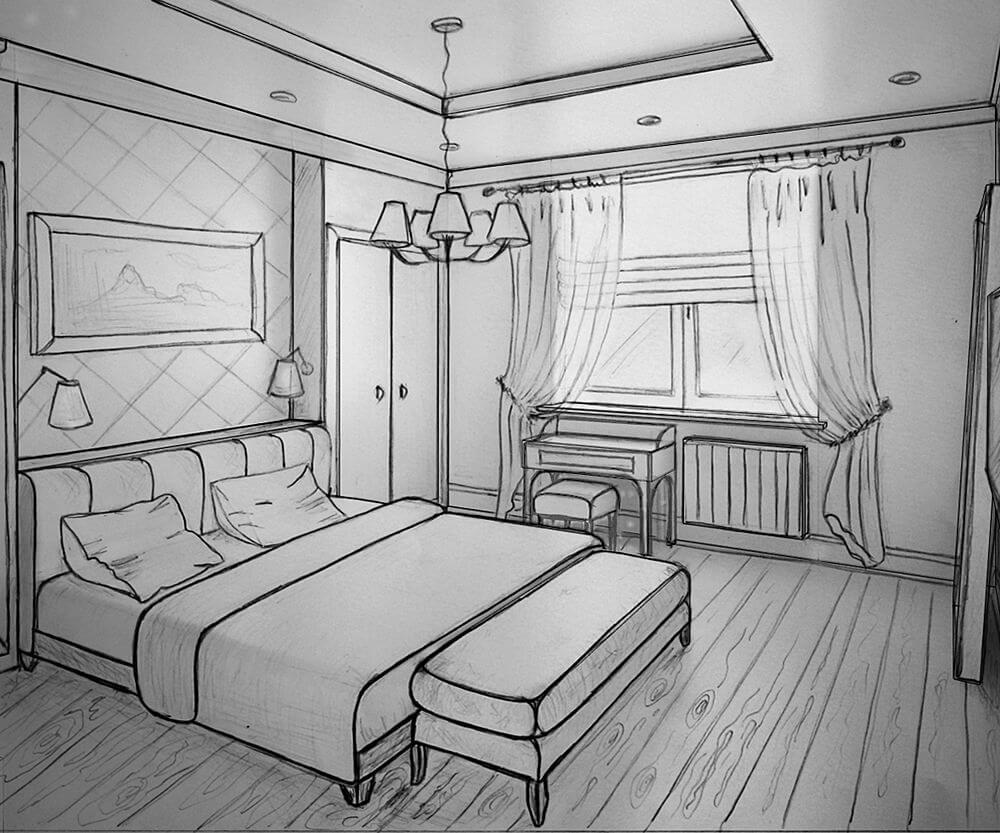 картинки для срисовки комната