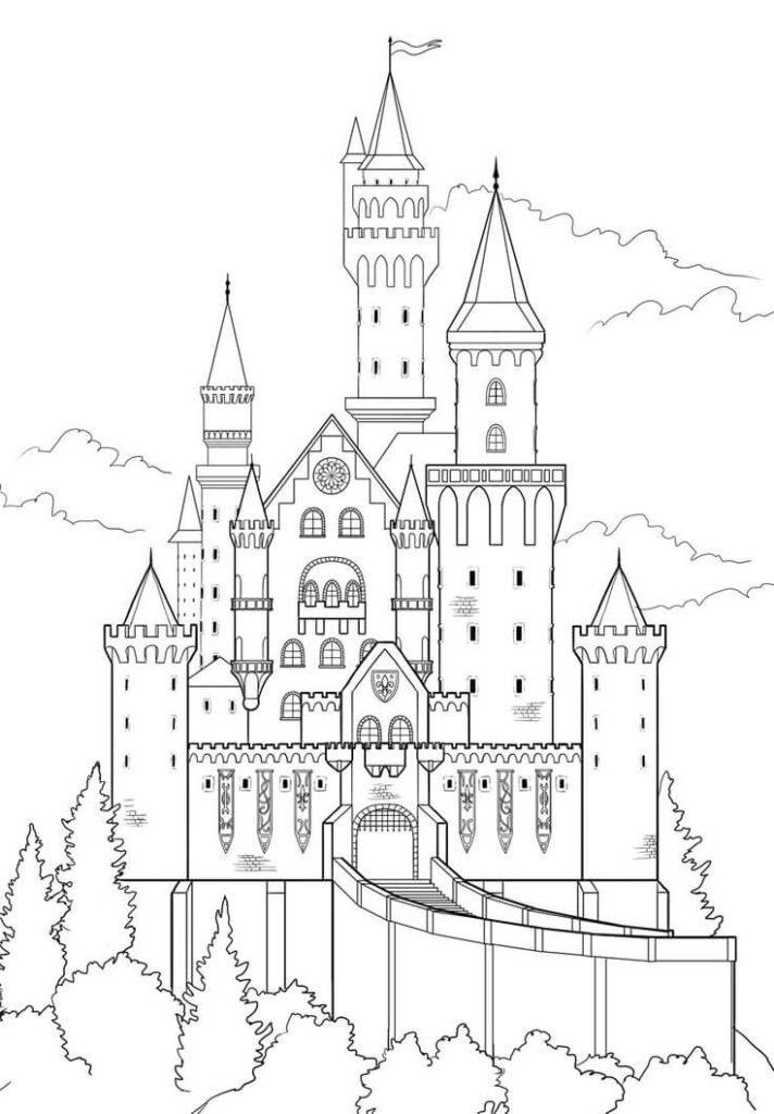 сказочный замок картинки для срисовки легкие