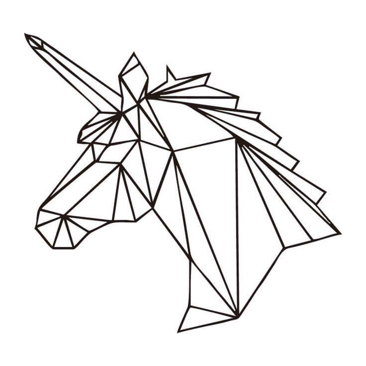 геометрические картинки для срисовки единорог