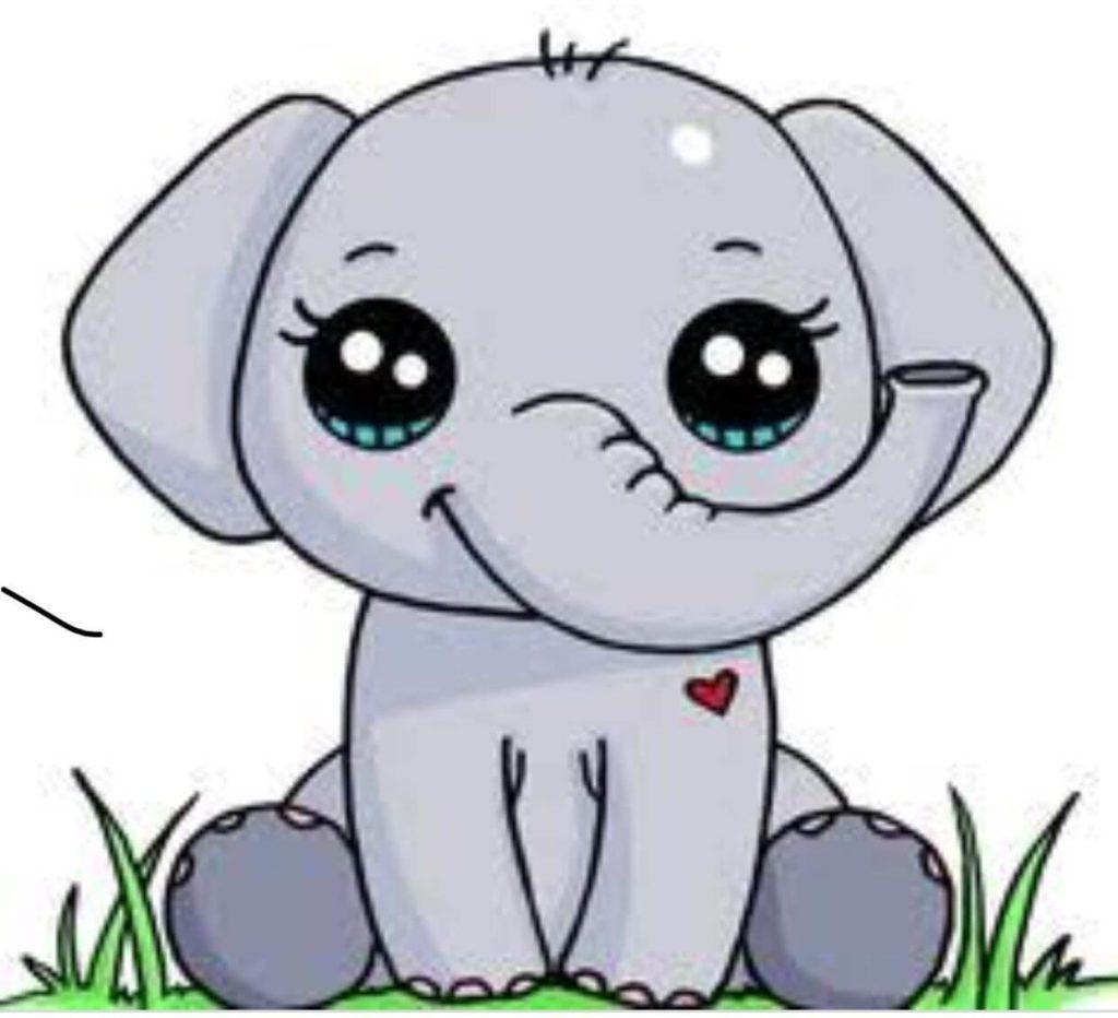 рисунки зверюшек для срисовки слоник