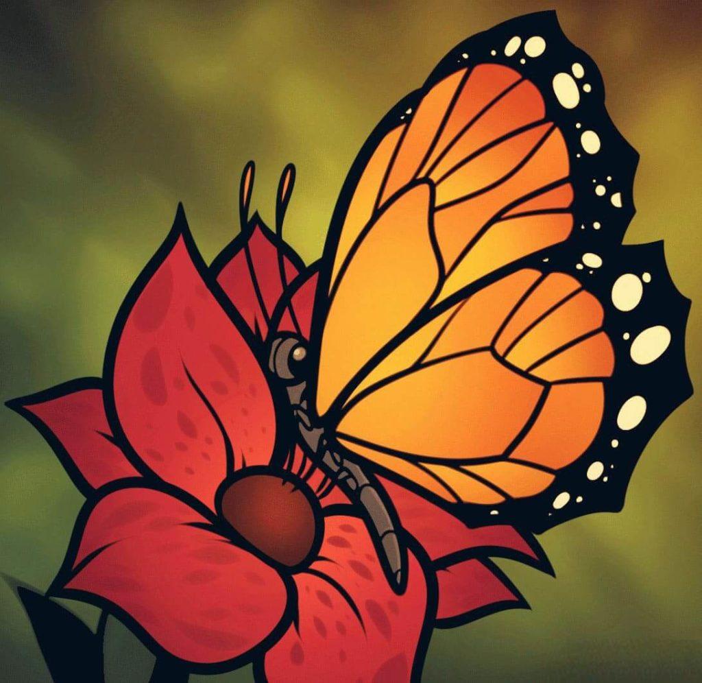 рисунки для срисовки бабочки цветные