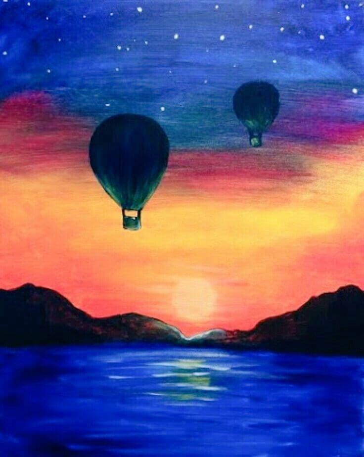 картинки для срисовки закат воздушный шар