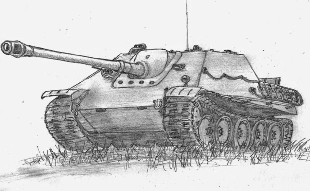 танк для срисовки мультяшные