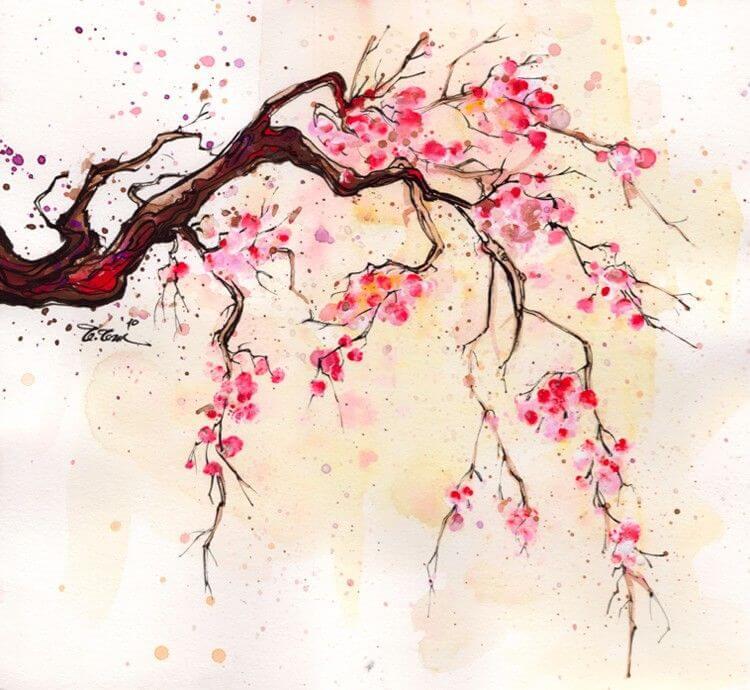 картинки для срисовки дерево сакура цветет