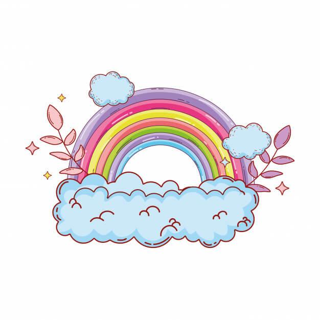 рисунки радуги для срисовки красивые