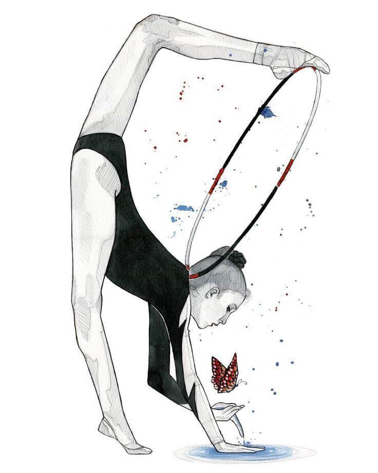 легкие картинки для срисовки гимнастки