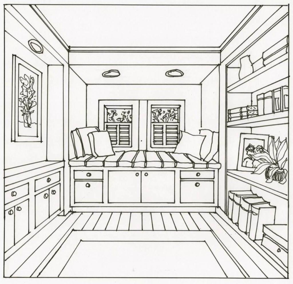 рисунок комнаты для срисовки карандашом