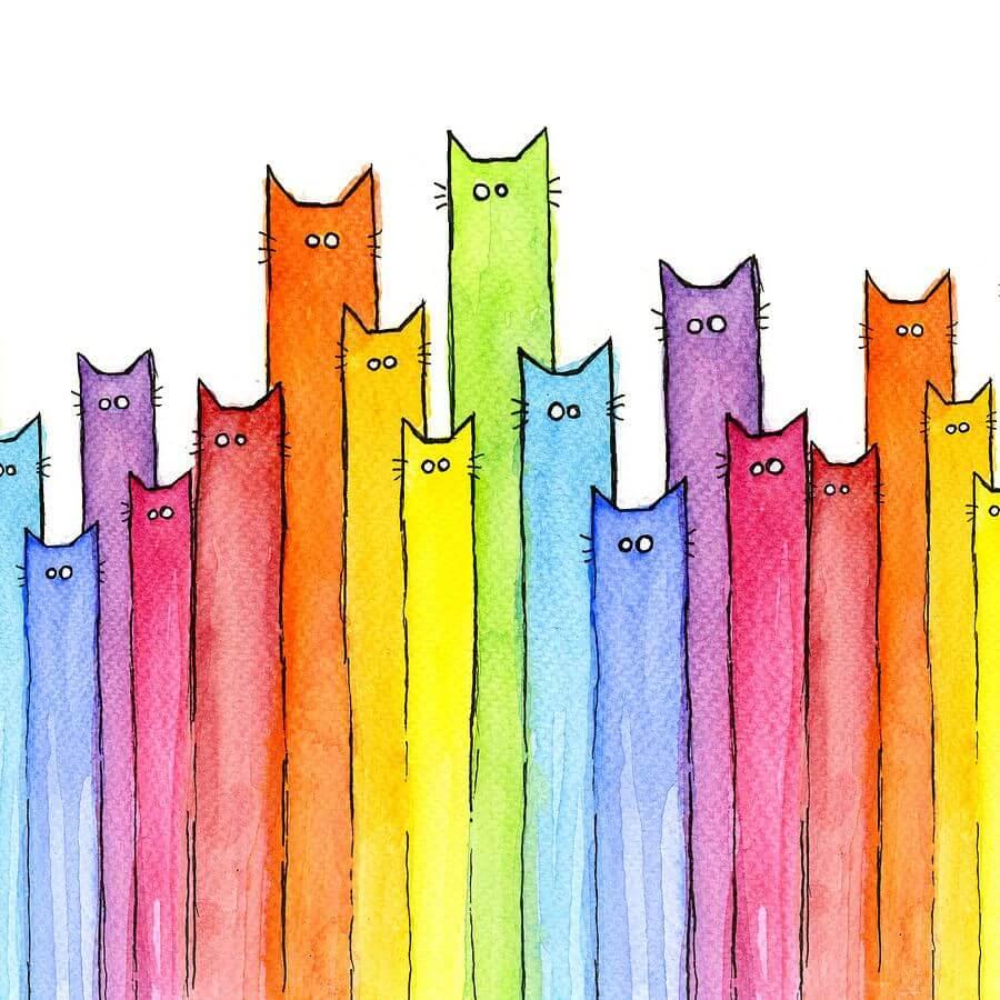 радужные рисунки для срисовки котики