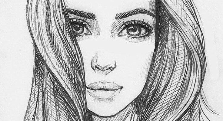 простые портреты для срисовки с длинными волосами