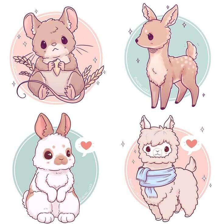 милые зверюшки рисунки для срисовки
