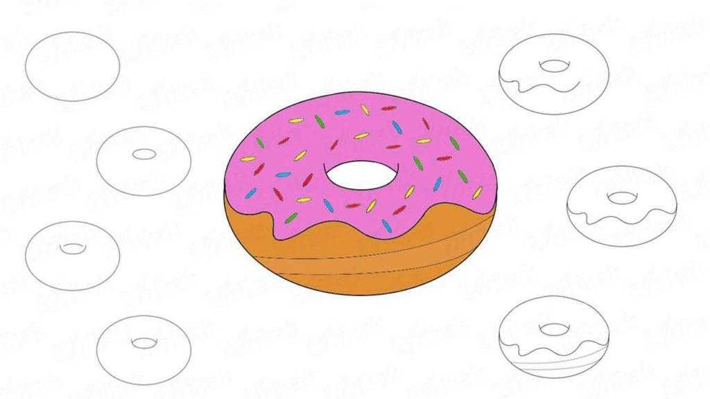 милые пончики для срисовки для начинающих