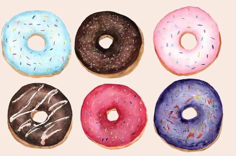 милые пончики для срисовки разные