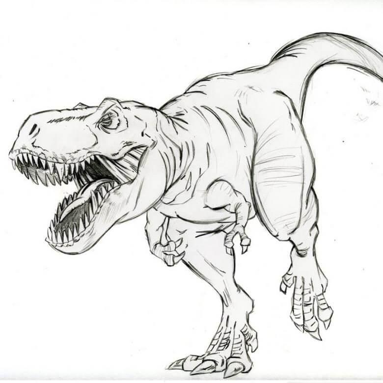 рисунки для срисовки динозавры простые карандашом