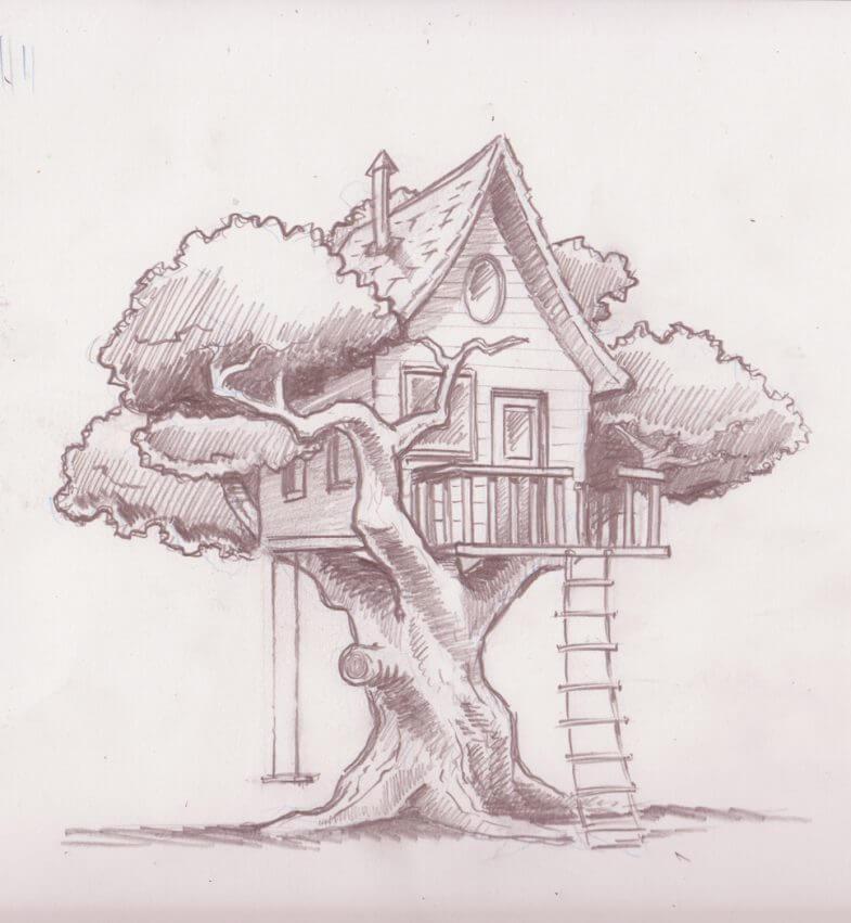 дом для срисовки на дереве