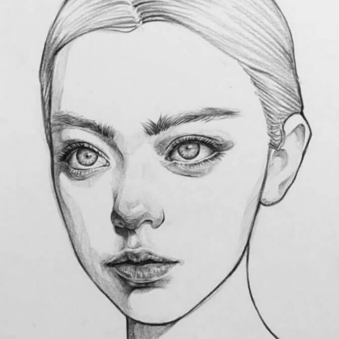 простые портреты для срисовки девушка молодая