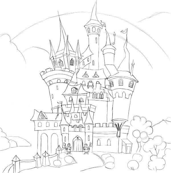 картинки замков для срисовки простые