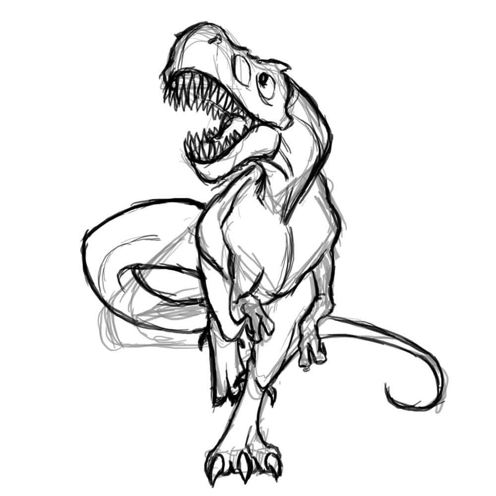 рисунки для срисовки динозавры бегущий