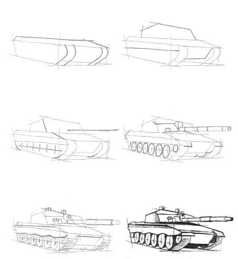 танк для срисовки пошагово