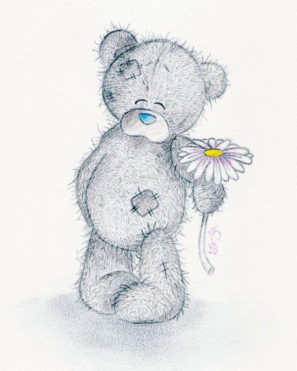 рисунок медведя для срисовки с цветком