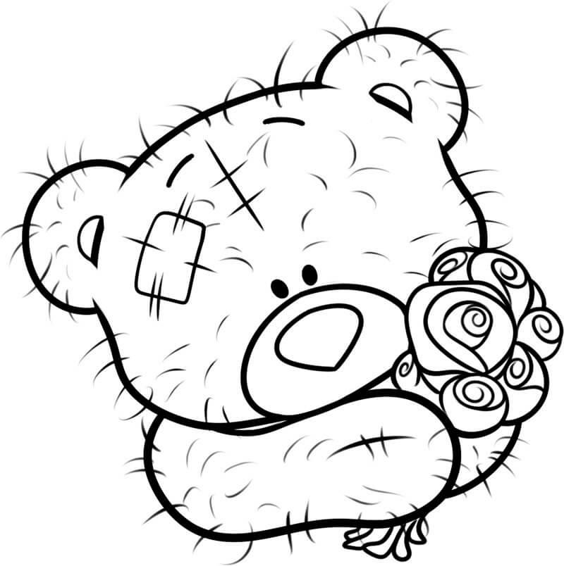 рисунок медведя для срисовки с букетом