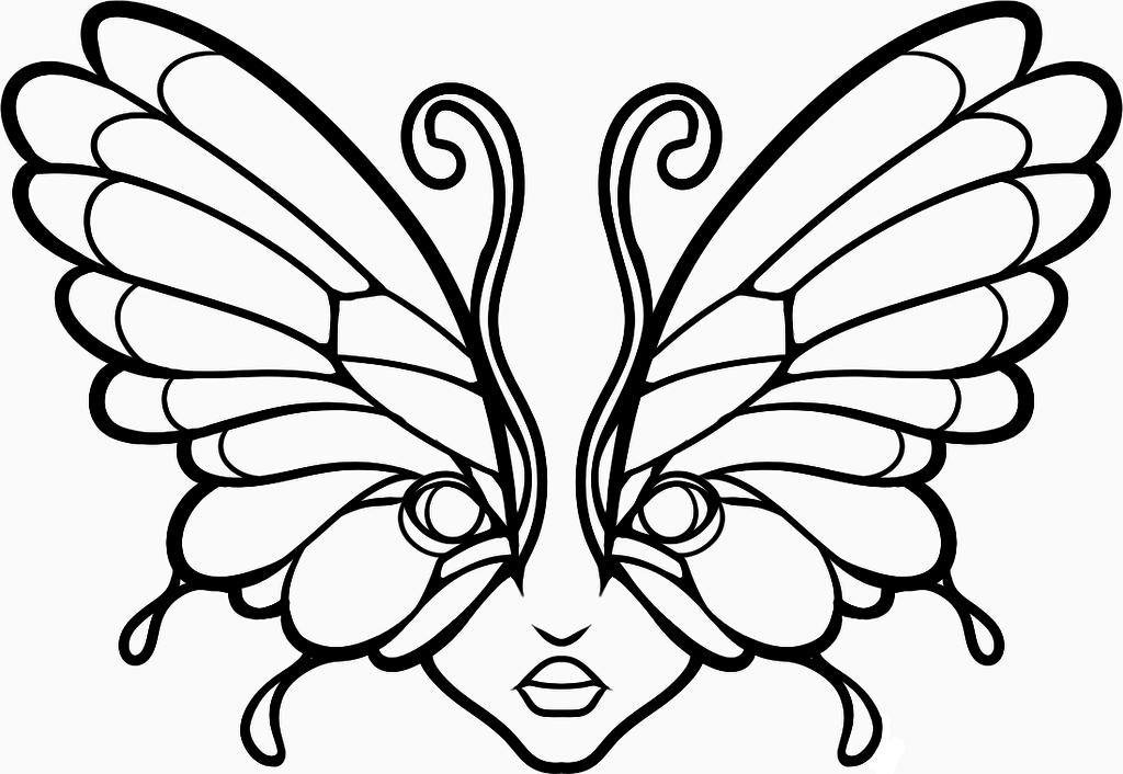 картинки для срисовки бабочки маска