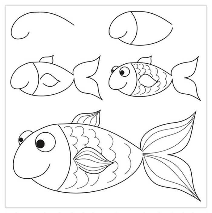 рыбки для срисовки пошагово