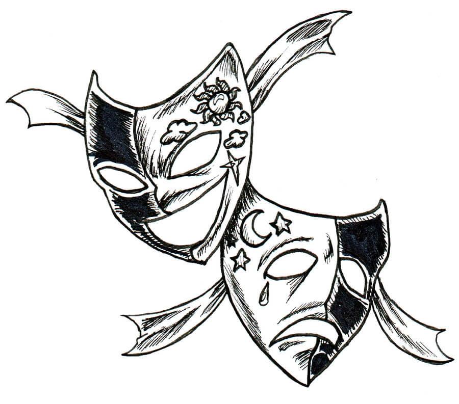 рисунки для срисовки две маски