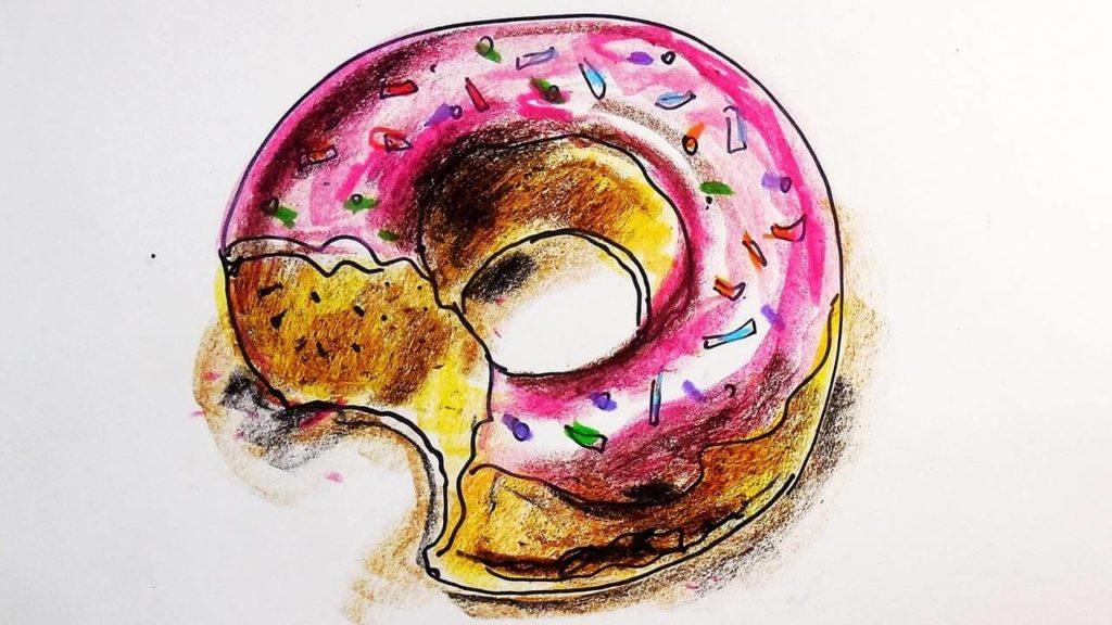 милые пончики для срисовки розовый