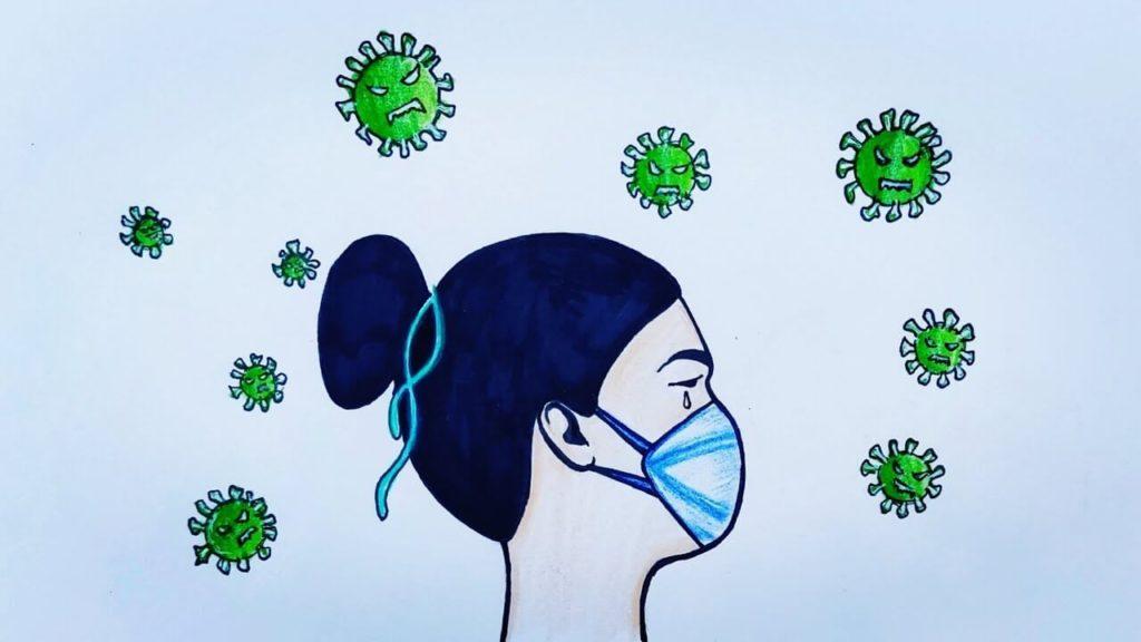 рисунки коронавируса для срисовки