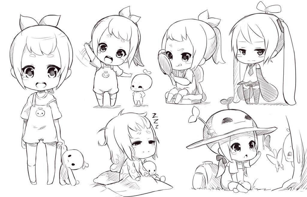 рисунки для срисовки чиби милые