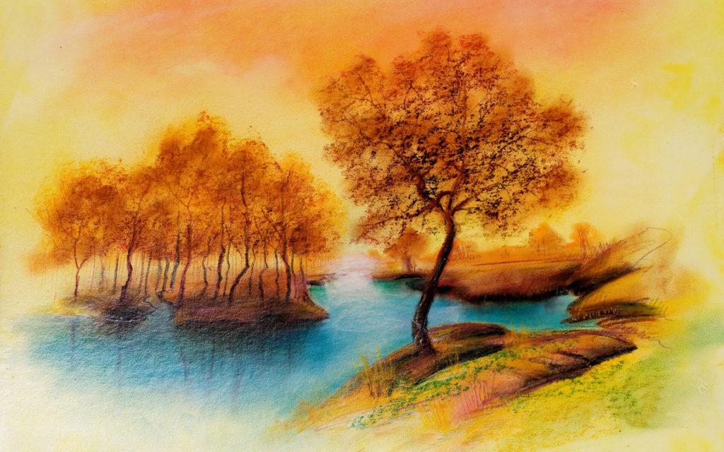 рисунки акварелью для срисовки пейзаж