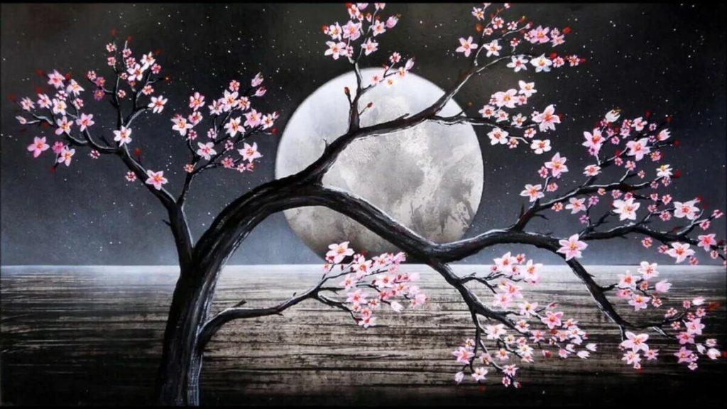 картинки для срисовки дерево сакура ночью