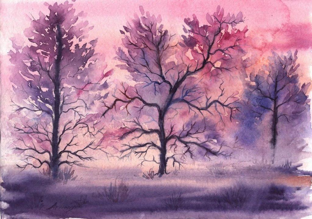 легкие пейзажи для срисовки акварелью красивые
