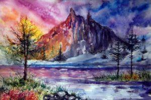 легкие пейзажи для срисовки акварелью