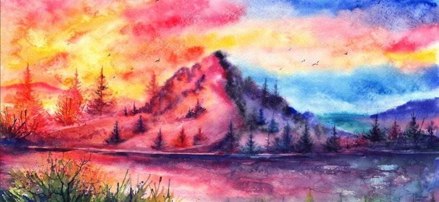 рисунки акварелью для срисовки пейзаж начинающим