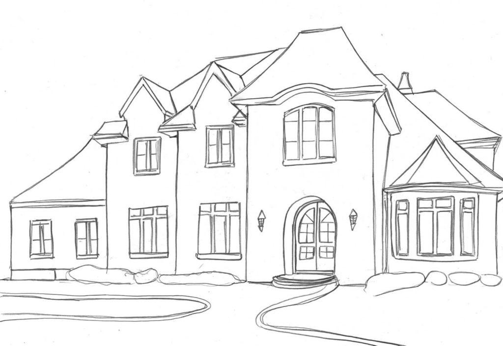дом для срисовки американский