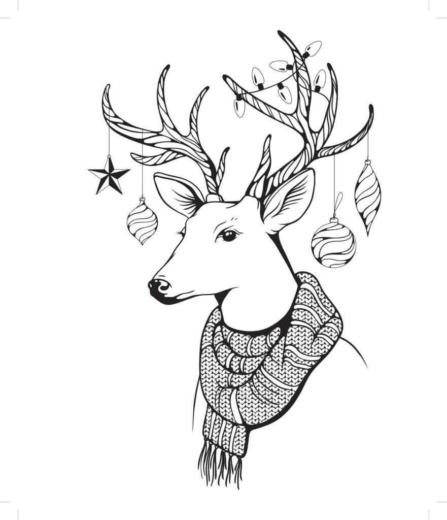 рисунки оленя для срисовки зимняя