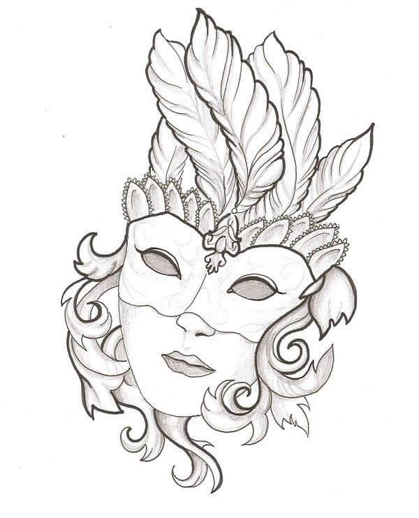 рисунки для срисовки маски с перьями