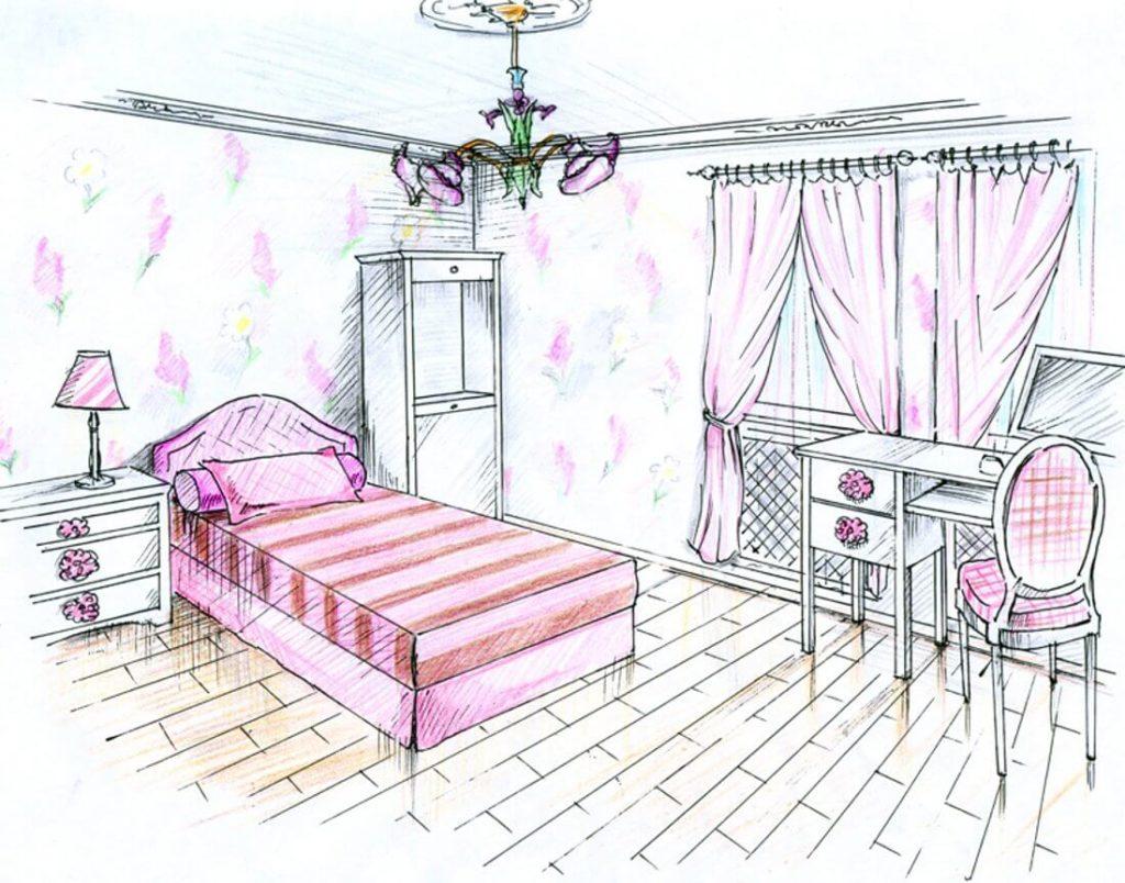 комната для девочки для срисовки красивая