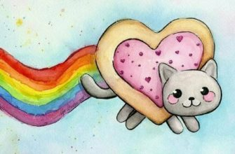 рисунки радуги для срисовки котик