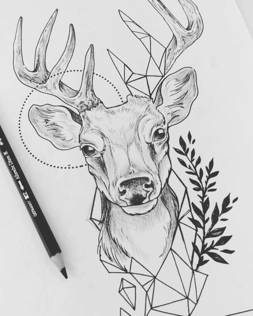 рисунки оленя для срисовки геометрические