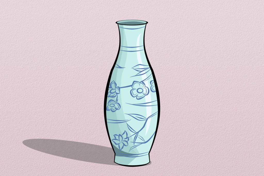 ваза с цветами рисунок для срисовки