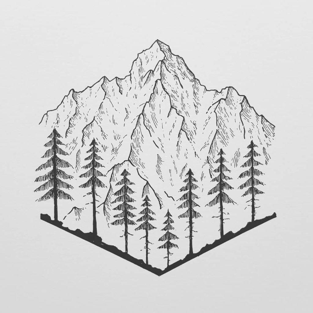 рисунки для срисовки лес